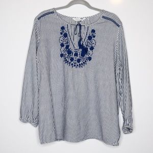 Old Navy The Tunic Shirt Embroidered Stripe XL